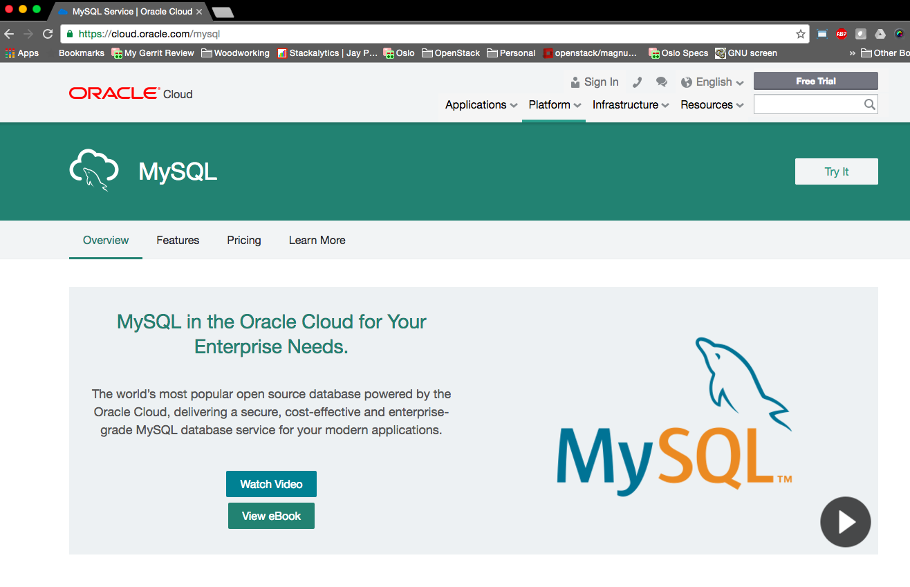 Oracle MySQL Public Cloud landing page