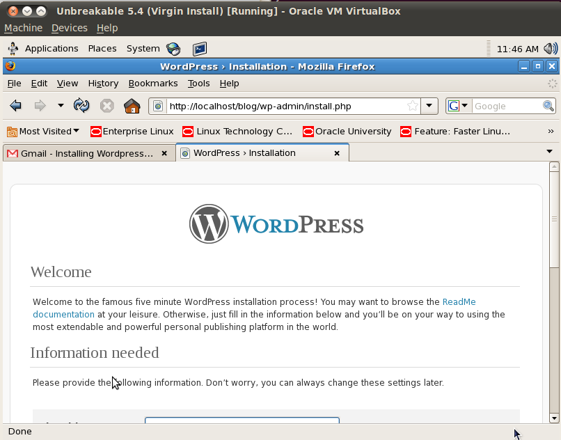Installing WordPress on Oracle Enterprise Linux LAMP stack