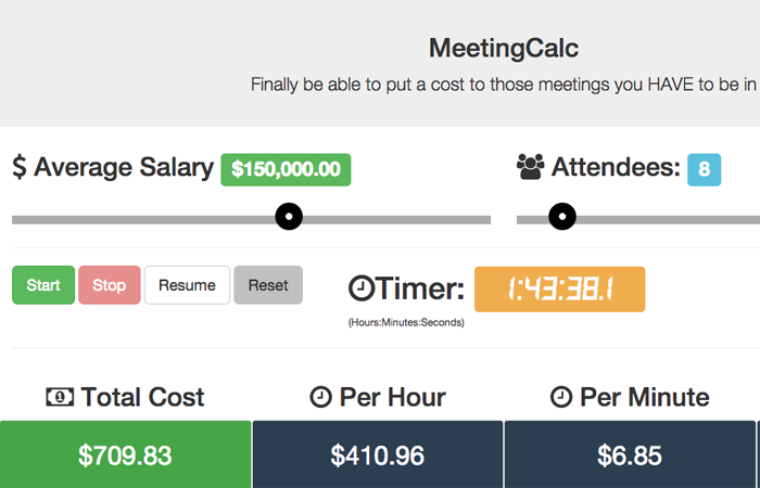 MeetingCalc - Finally be able to put a cost to those meetings you HAVE to be in